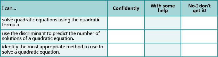 Solve Quadratic Equations Using the Quadratic Formula