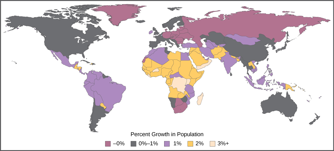 Human population growth biology the percent growth rate of population in different countries is shown notice that the highest growth is occurring in less economically developed countries sciox Images