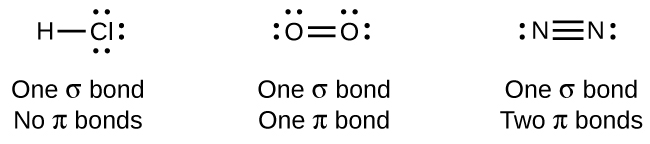 "A diagram contains three Lewis structures. The left most structure shows an H atom bonded to a C l atom by a single bond. The C l atom has three lone pairs of electrons. The phrase ""One sigma bond No pi bonds"" is written below the drawing. The center structure shows two O atoms bonded by a double bond. The O atoms each have two lone pairs of electrons. The phrase ""One sigma bond One pi bond"" is written below the drawing. The right most structure shows two N atoms bonded by a triple bond. Each N atom has a lone pairs of electrons. The phrase ""One sigma bond Two pi bonds"" is written below the drawing."