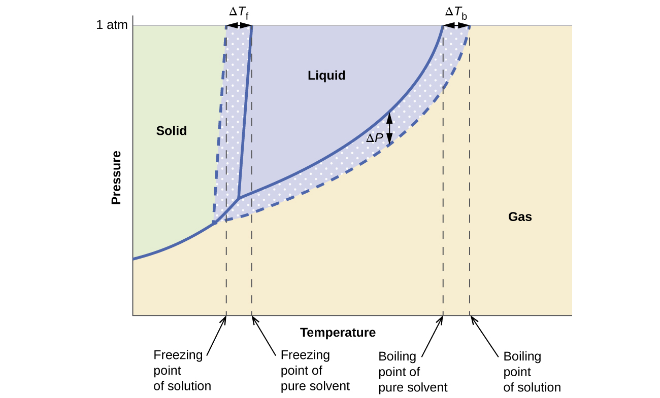 Colligative properties chemistry these phase diagrams show water solid curves and an aqueous solution of nonelectrolyte dashed curves pooptronica