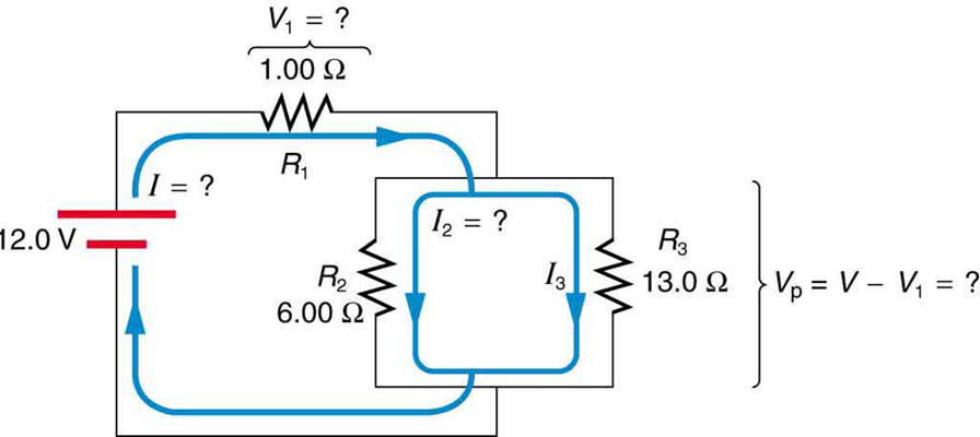 resistors in series and parallel · physics circuit diagram in which a battery of twelve point zero volts is connected to a combination
