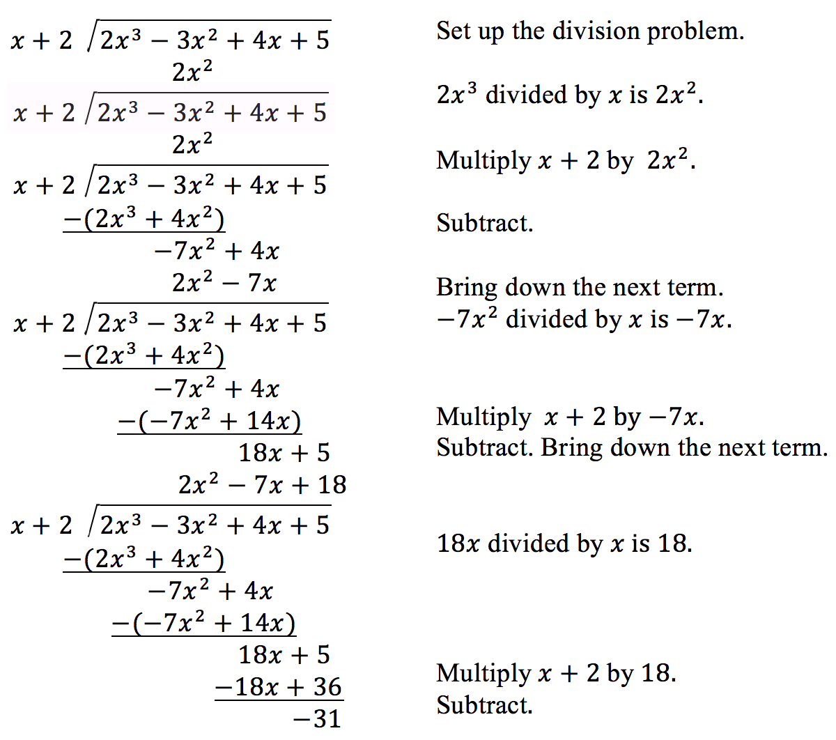 Worksheets Dividing Polynomials Worksheet dividing polynomials precalculus steps of long division for polynomials