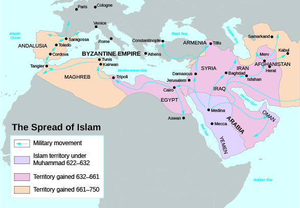 A Map Shows The Spread Of Islam Including Islamic Territory Under Muhammad From 622 To