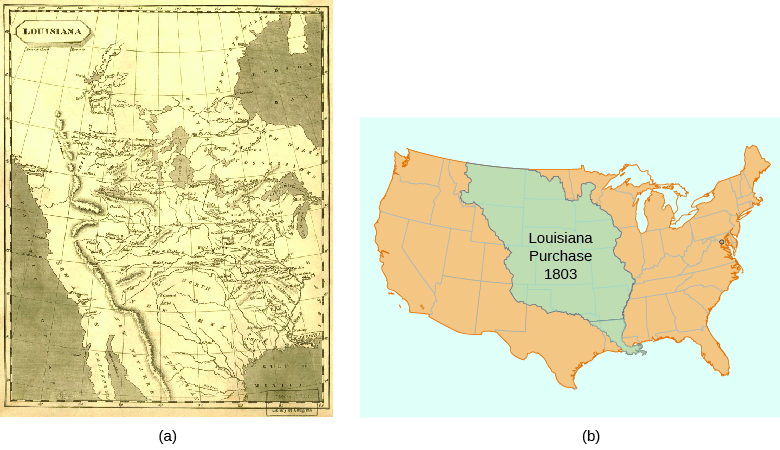 map a shows the territory added to the united states in the louisiana purchase