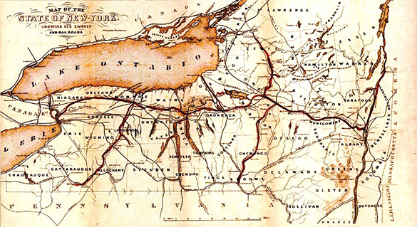 this 1853 map of the empire state shows the extent of new york s c and railroad networks the entire country s transportation infrastructure grew