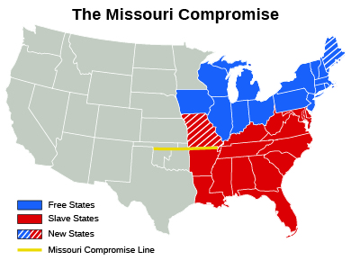 a map of the missouri compromise indicates free states slave states new states
