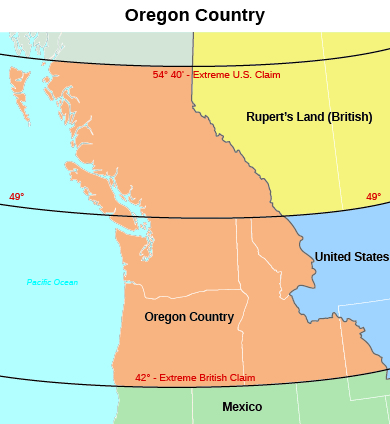 this map of the oregon territory during the period of joint occupation by the united states and great britain shows the area whose ownership was contested