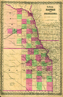 this 1855 map shows the new territories of kansas and nebraska complete with proposed routes of the transcontinental railroad