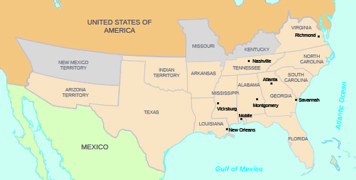 This Map Ilrates The Southern States That Seceded From The Union And Formed The Confederacy In 1861 At The Outset Of The Civil War