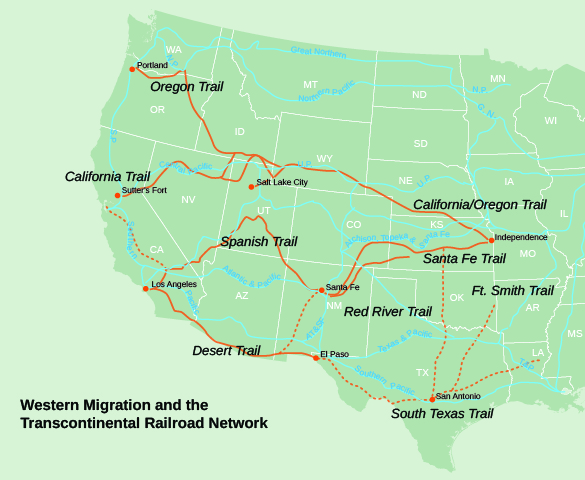 This Map Shows The Trails Orange Used In Westward Migration And The Development Of Railroad Lines Blue Constructed After The Completion Of The First